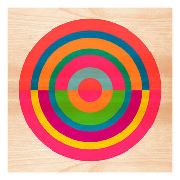 Target on Wood No. 1, Original Art Print, Geometric, Abstract, Target, Circles, 12x12
