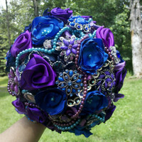 "Brooch Wedding Bouquet, Custom, Vintage, Bridal, Classy, 12"" Brooch Bridal, Fabric Flower Bouquet, Weddings, One of a Kind You Choose Colors"