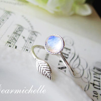 Rainbow Moonstone Ring, Christmas Gift Sterling Silver Leaf Ring, Natural Blue Flash Moonstone Jewelry, Interstellar, Woodland, Adjustable