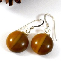 Chocolate Brown and Tan Two Toned Round Dangle, Earrings, Fused Glass