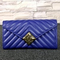 CHANEL texture Leather Purse Wallet bag blue H-MYJSY-BB