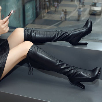 PU Round Toe Back Strap High Block Heel Knee High Boots