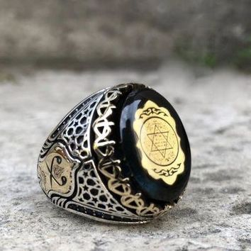 Amber gemstone with seal of solomon and david star sterling silver mens ring