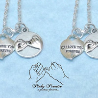 2 Mother Daughter I Love You Forever Hearts - Sisters Pinky Promise Necklaces -  Pinky Swear - Mom Necklace - Daughter Necklace