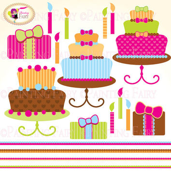 Clipart Buy 2 get 1 Free Happy Birthday pink cake clip art Girls colors designer elements digital images personal & commercial use pf00004-2