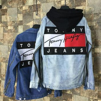 """Tommy Hilfiger"" Fashion Women Men Print Long Sleeve Couple Denim Cardigan Jacket Coat I"
