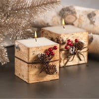 Square Birchwood Candle with Trim - Set of 3