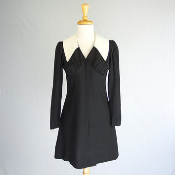 Mod Vintage Babydoll Dress Black & White Collar Wednesday Mini  S