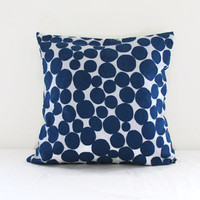 16 inch Blue spotty cushion cover , Linen pillow cover in Prestigeous textile Fizz fabric blue throw pillow , uk seller