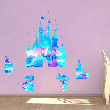 kcik1973 Full Color Wall decal Watercolor Character Disney Castle Disney Princesses  Princess Jasmine Cinderella Belle Ariel