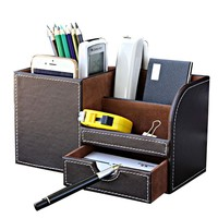 Desk Stationery Organizer Pen Pencil  Holder Storage Box Case Container Black With Wood Leather