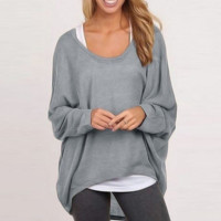 Loose Asymmetric Knitted Long Sleeves T-Shirt