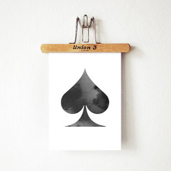 "Spades Card - Poster 5 x 7"", Ace of spades Digital Poster, Black and White Printable Watercolor Art Print"