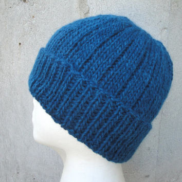 Mens Beanie Hat, Teal Blue, Hand Knit Llama/Wool, Watch Cap, Warm Winter, Man Guys Teens