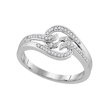 10kt White Gold Women's Round Diamond Concentric Swirl Band Ring 1/10 Cttw - FREE Shipping (US/CAN)