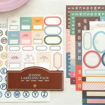 11 sheets per pack New creative iconic label sticker pack / deco stickers / children stickers