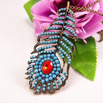 Bosnian style Blue peacock feather necklace Retro ruby sweater necklace. Holiday, birthday gifts, friendship gifts.
