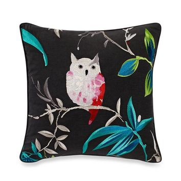 kate spade new york Trellis Blooms Owl Square Throw Pillow in Grey