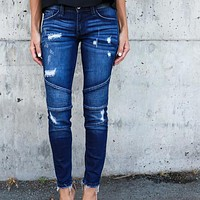 Women Pencil Pants Pleated Long Jeans Slim Pleated Ripped Hole Stretch Denim Skinny Pants Casual Dancer Girl Trousers