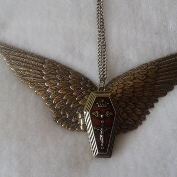 Agel Wings coffin locket necklace - goth, gothic