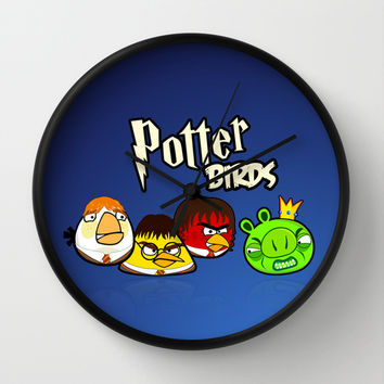 Angry Potter Birds | Angry Birds vs Harry Potter Wall Clock by Olechka