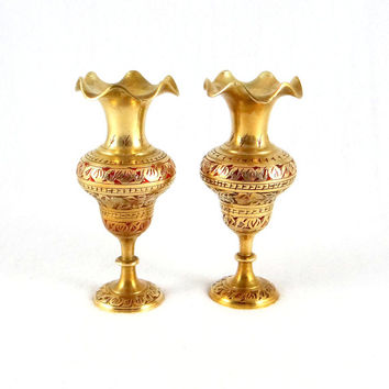 Etched Brass Vases with Red Enamel from India
