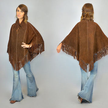 vtg 60s/70s SUEDE PONCHO chocolate brown FRINGED cape, one size fits most