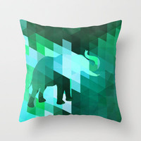 Emerald Elephant Throw Pillow by Deniz Erçelebi