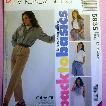 Women's Skirt, Pants and Shorts Misses' Size 10, 12, 14 McCall's 5935 Sewing Pattern Uncut