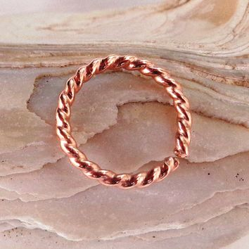 Septum Ring Twisted 14K Rose Gold Filled,Nose Ring,Daith piercing ring,cartilage,helix,tragus,ear hoop earring,16g (1mm) - Diameter 8mm