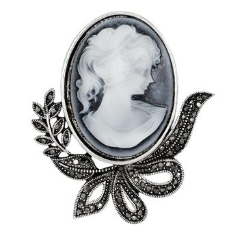 Vintage Brooches Fashionable Pretty Beauty Queen Antique Cameo Brooch Pins  Palace Rhinestone Jewelry