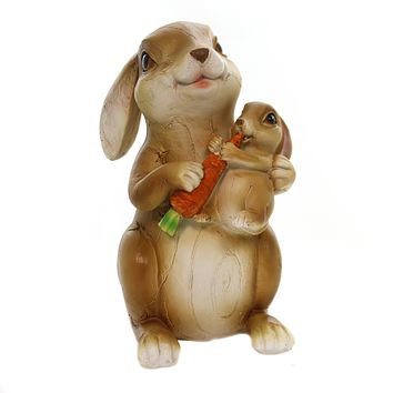 Easter MOMMA BUNNY WITH BABY Pol;Yresin Figurine Carrot Ea16325