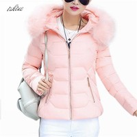 High Quality Winter Parka Women Hooded Jacket Coat Faux Fur Collar Winter Coat Black Women Zipper Parkas Female Winter Outwear
