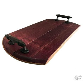 Handmade Wine Barrel Wood Serving Tray With Rustic Iron Handles