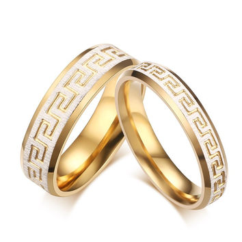 Meaeguet 1 pcs price wedding ring gold color greek key pattern couple rings promise love for engagement jewelry