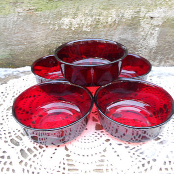 SET OF 5 ~ 1930's Arcoroc French Ruby Red Glass Bowls ~ Marked France on the Bottom - Holiday Dinnerware