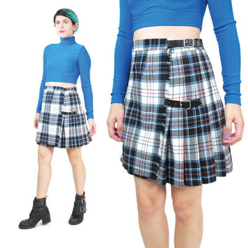 Plaid Mini Skirt Plaid School Girl Pleated Plaid Skirt Fall Winter Scottish Kilt Wool Tartan Skirt High Waisted Skirt Leather Buckles (S/M)