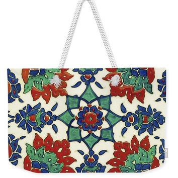 An Ottoman Iznik Style Floral Design Pottery Polychrome, By Adam Asar, No 13a - Weekender Tote Bag