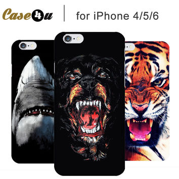 Fashion Animal White Shark Tiger Dog Smartphone Hard Back Cover Capinhas Para for iPhone 5 5S 6 6s iPhone Case