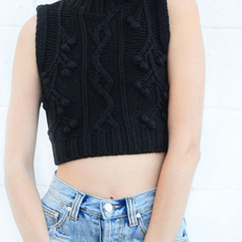 Sleeping Beauty knitted Skivvy top - Black