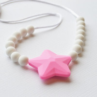 Chewing Necklace for Kids/Oral Sensory Toy/Kids Fidget Jewelry/Pink Star/Free Shipping on U.S. orders