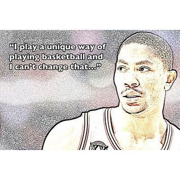 photo quote poster DERRICK ROSE basketball great UNIQUE WAY OF PLAYING 24X36