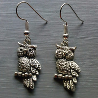 Large Silver Owl Earrings by Shamise's Blissful Creations