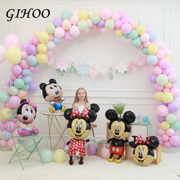 New 1pc Mickey Minnie Balloons Large Giant Big Red Bowknot Standing Mouse Cartoon Balloons for Birthday Party Decorations Kids