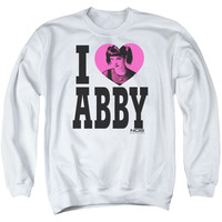 NCIS/I HEART ABBY - ADULT CREWNECK SWEATSHIRT - WHITE -