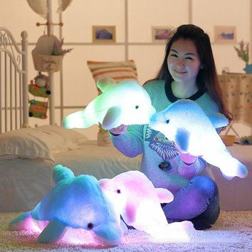 45cm Plush Colorful LED Induction Light Dolphin Shape Throw Pillow Home Sofa Party Decor Toys Gift