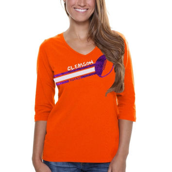 Clemson Tigers Ladies Football Glitter Half Sleeve V-Neck T-Shirt - Orange