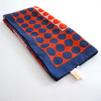 Polka Dots & Squares Vintage Scarf In Red, Blue On White