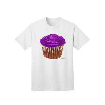 Giant Bright Purple Cupcake Adult T-Shirt by TooLoud