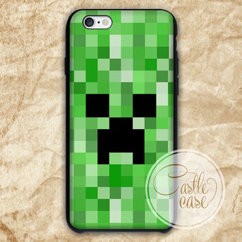 Minecraft Creeper Black White iPhone 4/4S, 5/5S, 5C Series Hard Plastic Case